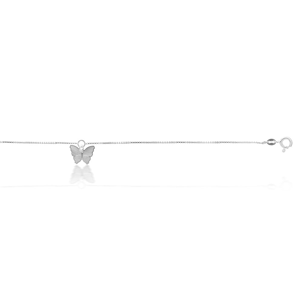 Sterling Silver Butterfly Charm 25cm Anklet