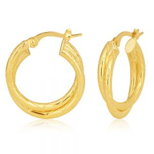 9ct Yellow Gold Crossover Hoop Earrings