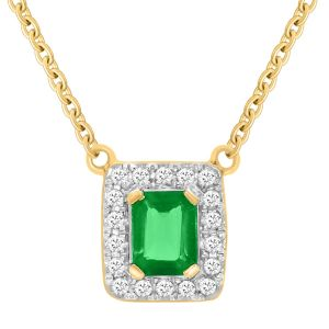 18ct Yellow Gold Natural Emerald & Diamond Pendant with 45cm Chain