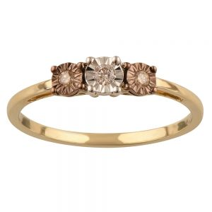 9ct Yellow Gold Australian Champagne Diamond Ring with 2 Brilliant White Diamonds
