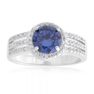 Sterling Silver Cobalt and White Zirconia Ring