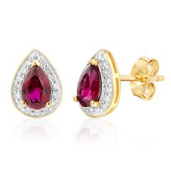 9ct Yellow Gold Created Ruby and Diamond Pear Halo Studs