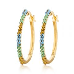 9ct Silverfilled Yellow Gold Coloured Crystal Hoop Earrings