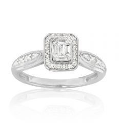 Emerald Shaped Illusion 0.20ct Diamond Ring in 9ct White Gold