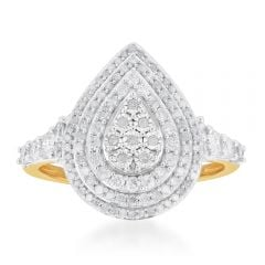 1 Carat Diamond Pear Shaped Cluster Ring Set in Sterling Silver and 9ct Yellow Gold