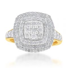 Sterling Silver and 9ct Yellow Gold 1 Carat Diamond Cluster Ring