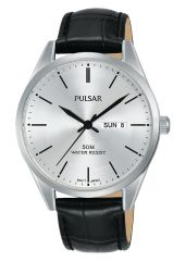 Pulsar PJ6115X Black Leather Mens Watch