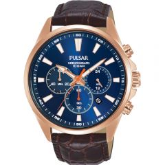 EXCLUSIVE Pulsar PT3A44X Chronograph Brown Leather Stainless Steel Mens watch