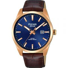Pulsar Solar PX3186X Brown Leather Mens Watch