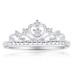 Sterling Silver Cubic Zirconia Heart Crown Ring  *Resize 1-2 Sizes*
