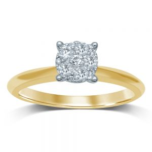 Luminesce Lab Grown 9ct Yellow Gold 0.25 Carat Diamond Ring with 11 Diamonds