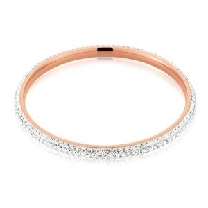 Rose Gold Plated Stainless Steel Crystal Bangle 65mm