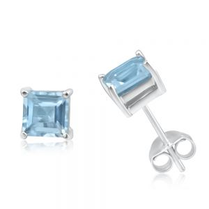 9ct White Gold 5mm Princess Cut Blue Topaz Stud Earrings