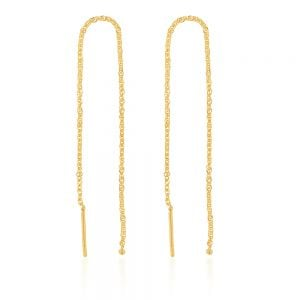 9ct Yellow Gold Singapore Chain Threader Drop Earrings