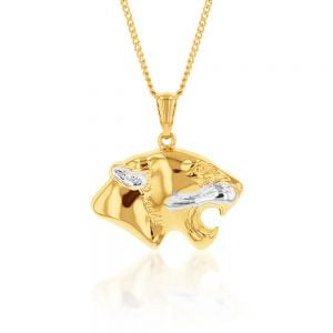 9ct Yellow And White Gold Double Sided Tiger Pendant