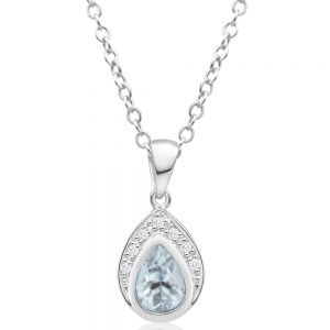 9ct White Gold Aquamarine + 7 Diamond Pendant