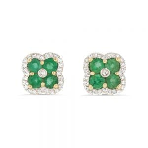 Emerald & 0.22ct Diamond Royal Clover Stud Earrings in 9ct Gold