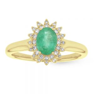 Emerald & Diamond 0.13ct Royal Lady Cluster Ring in 9ct Gold  -  Size N