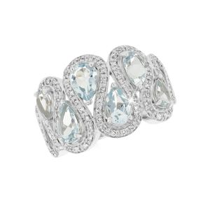 Aquamarine & 0.26ct Diamond Iconic Ribbon Dress Ring in 9ct White Gold