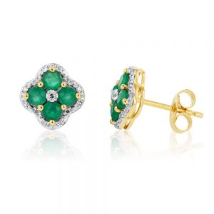 9ct Natural Emerald and 0.10ct Diamond 4 Leaf Clover Studs