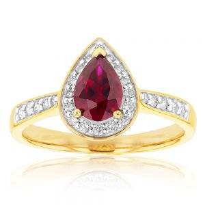 9ct Yellow Gold 7x5mm Created Ruby and Diamond Pear Halo Ring