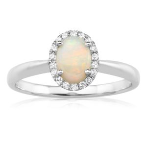 9ct Natural White Opal 7x5mm and Diamond Halo Ring