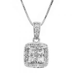 SEAMLESS LOVE 9ct White Gold Diamond Pendant with 1/2 Carat of Diamonds on 45cm Chain
