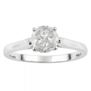 SEAMLESS LOVE  9ct White Gold 4 Trilliant Cut Ring with 1/2 Carat of Diamonds