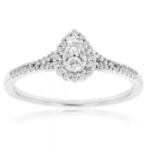 9ct White Gold 1/4 Carat Pear Shape Cluster Ring