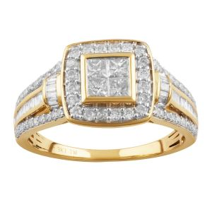 9ct Yellow Gold 1 Carat Diamond Ring with Princess Brilliant and Baguette Diamonds