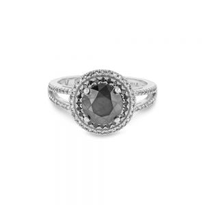 2.40ct Black & White Diamond Halo Ring in 18ct White Gold