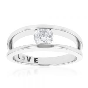 0.50ct GIA Cert Diamond Tension set Solitaire Ring in 18ct White Gold
