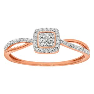 9ct Rose Gold Diamond Ring Set with 13 Stunning Brilliant Diamonds