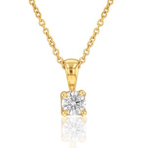 Flawless 9ct Yellow Gold 0.10 Carat Diamond Solitaire Pendant on a 45cm Chain