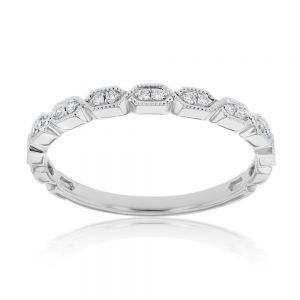 Memoire 18ct White Gold Vintage Round and Flat Hexagon Stack Ring with 18 Diamonds