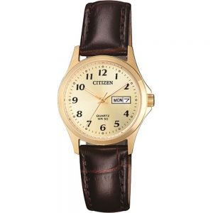 Citizen EQ200207P Gold Ladies Watch With Brown Leather Band