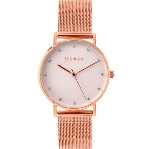 Ellis & Co Broadway Rose Gold Tone Mesh Womens Watch