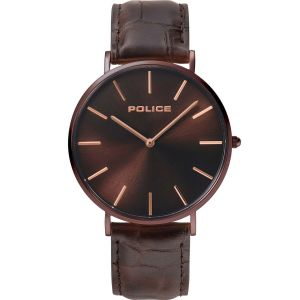 Police Majestic Brown Leather Mens Watch