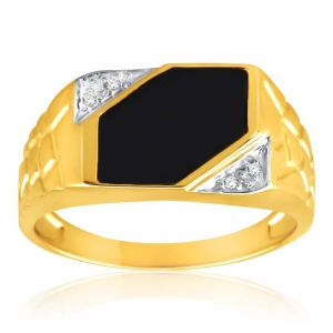 9ct Yellow Gold Plain Onyx and Diamond Patterned Side Gents Ring