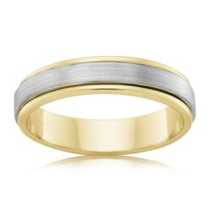 9ct Yellow Gold and Titanium 6.5mm Matt Finish Ring All Sizes