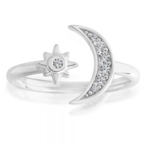 Sterling Silver Toe Ring Crescent Moon and Star