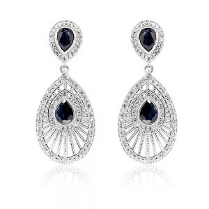 Sterling Silver Natural Enhanced Sapphire and Zircon Drop Earrings