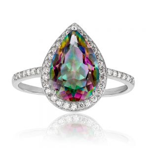Sterling Silver Mystic Topaz and Zirconia Ring