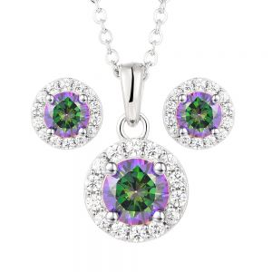 Sterling Silver Mystic Topaz Zirconia Pendant And Stud Set on 45cm Chain