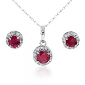 Sterling Silver Natural Enhanced Ruby and White Zircon Set with Chain