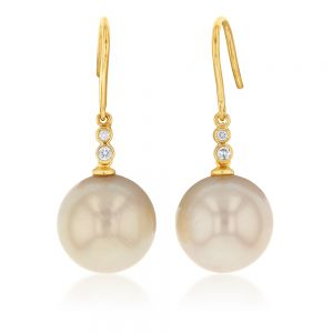 9ct Yellow Gold Golden South Sea Pearl and Diamond Earrings