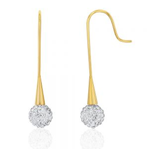 Stainless Steel Yellow Gold Plated Crystal Ball with Bar Drop Earrings