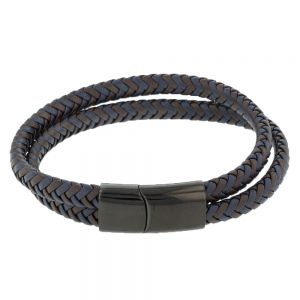 Stainless Steel Double Wrap Woven Brown and Navy Leather Bracelet