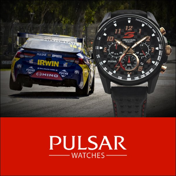 Watch in front of a racing car