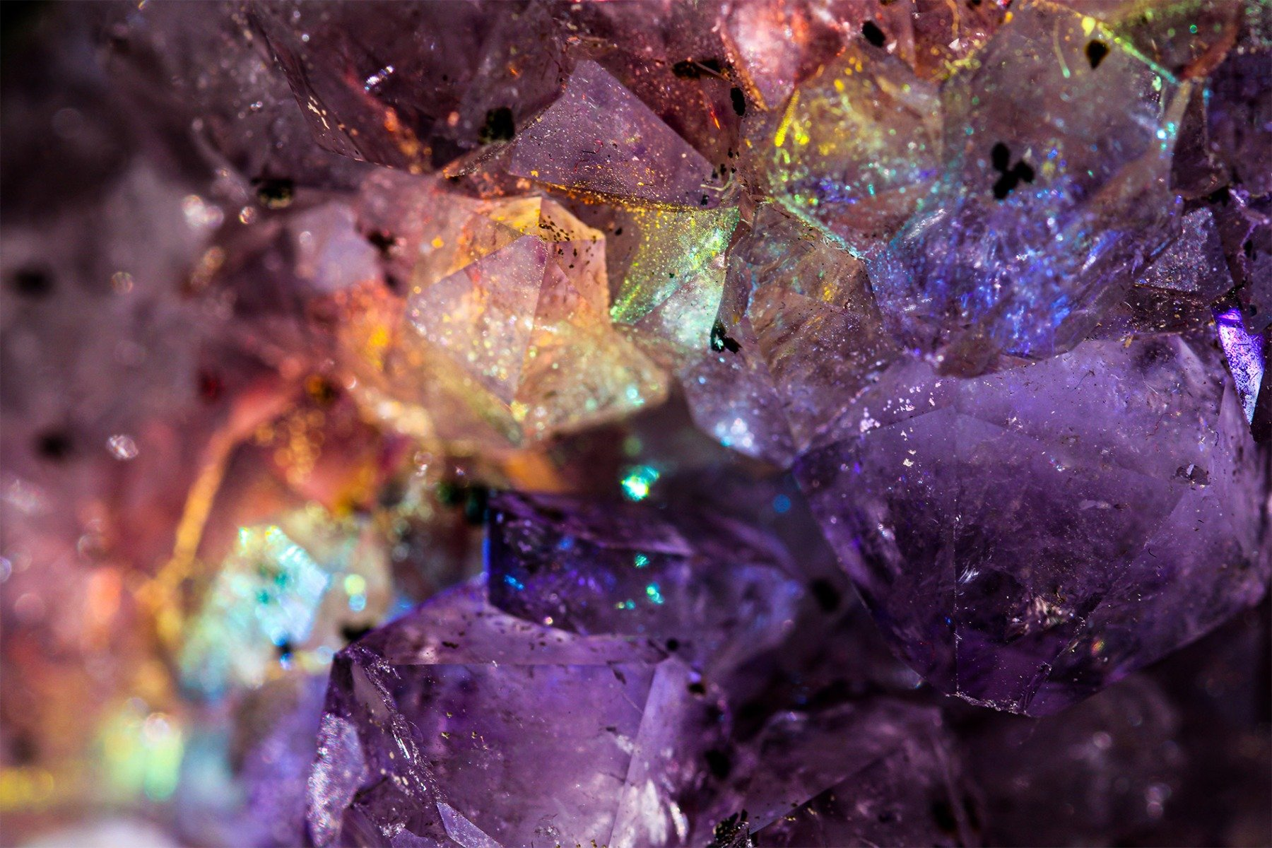 the February birthstone in a geode